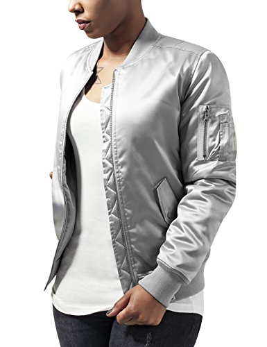 Urban Classics Ladies Satin Bomber Jacket, Giacca Donna, Silber (Silver 473), 40
