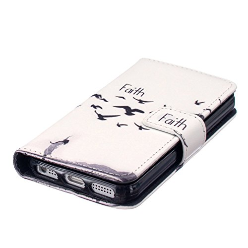 iPhone 6S Coque [avec gratuit 1x protection d'écran et 1x Stylet] Premium PU Cuir Portefeuille Coque pour iPhone 6, CE Flip Folio Couverture de livre de luxe 3d double cœurs Sablier Bling Sparkle Pa C1 Seagull