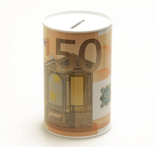 Spardose Geldschein Euroschein Metall Sparbüchse Geldschein Sparschwein Euro Sparen (50 EURO)