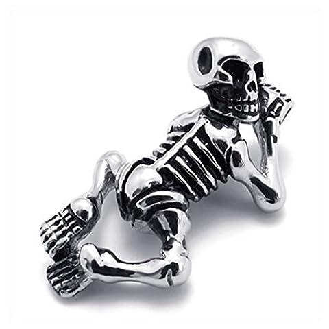 Konov Jewellery Men's Stainless Steel Skull Skeleton Pendant Necklace, Colour
