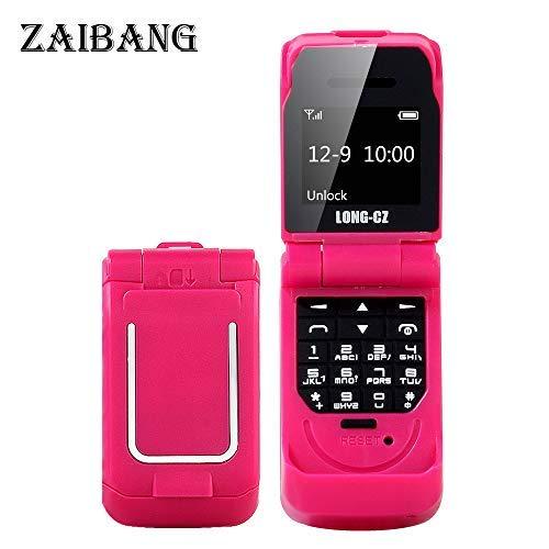Long CZ J9 Das kleinste Blutooth-Telefon Mini-Flip-Telefon 2G GSM-Kunststoff-Geschenk Voice Changer 3 in 1 Bluetooth-Headset Dialer 18g (Rot) Gsm Flip Handy