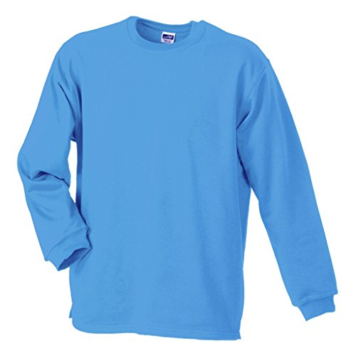 JAMES & NICHOLSON Sweatshirt mit Rundhalsausschnitt Light-Blue