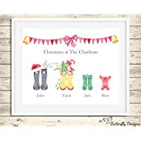 Personalised Christmas Wellington Boots Family Watercolour Premium Print Picture A5, A4 & Framed Options, Welly Art - Design 2