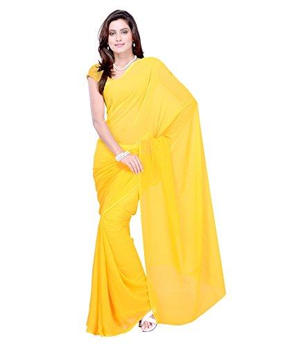 Sse Women's Faux Georgette Saree With Blouse Piece (Plain_01_Yellow)