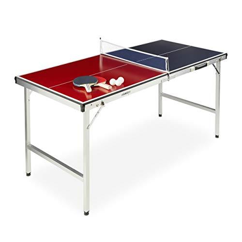 Relaxdays Unisex- Erwachsene Klappbare Tischtennisplatte, tragbar, Netz, 2 Schläger, 3 Bälle, Alu, MDF, HBT: 67,5 x 151 x 67,5 cm, Rot-Blau, 78