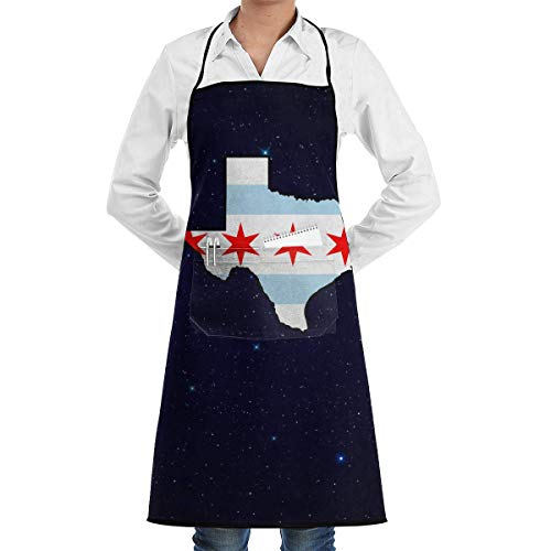 Chicago Kostüm - Personalized Aprons Chicago Flag Texas Map Menâ€s Womenâ€s Unisex Manicure Store Kitchen Long Aprons Sleeveless Overalls Portable with Pocket for Cooking,Baking,Crafting,Gardening,BBQ