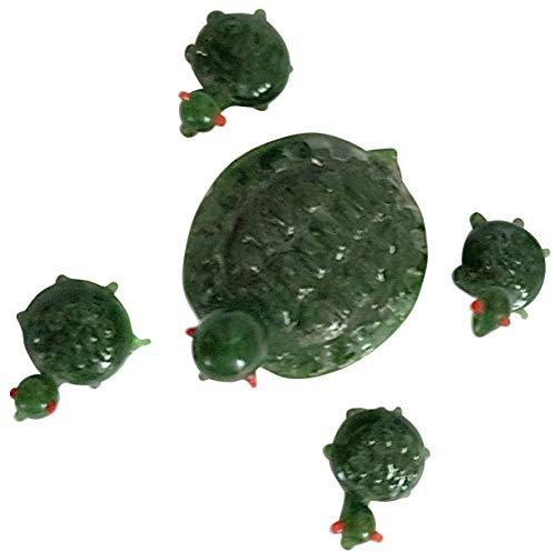 Figurenset 5 tlg. aus grünem Glas Schildkröten Familie Große Schildkröte 3 - 4 cm Kleine Schildkröten Länge ca. 1 cm Oberstdorfer Glashütte