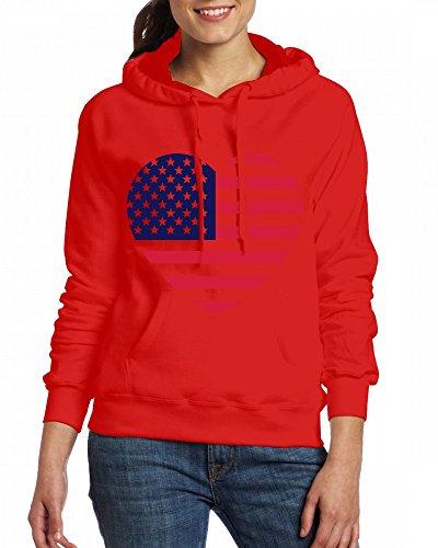 Custom Womens Hooded - Design America heart Hoodies Red
