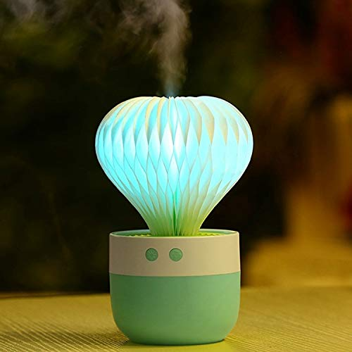LED colorato Notte 150ML Mini Cactus Portatile USB di Figura della Luce Mist umidificatore Bellezza Rifornimento Deodorante for la casa Deodorante per Auto umidificatore (Colore : Green)