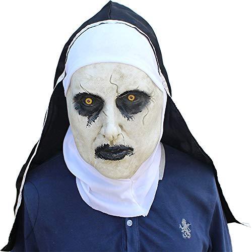XIAOMAN Nonne Kopf Maske Realistische Latex Gesichtsmaske Halloween Cosplay Kostüm Weihnachtsfeier Rollenspiele Spielzeug ( Color : White , Size : One Size ) (Latex Nonne Kostüm)