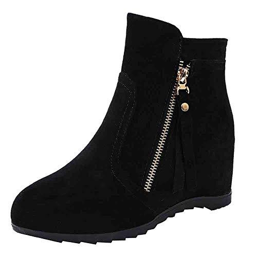 Toasye Ausverkauf Mode Einfarbig Boots Stiefel Versteckte Ferse Stiefel Wildleder Rundkopf Frauen Schuhe