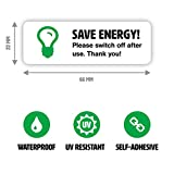 10 x Save Energy Sticker Set - Turn off Lights or Appliances - Light Switch Stickers (Small - 6.6 x 2.2 cm)