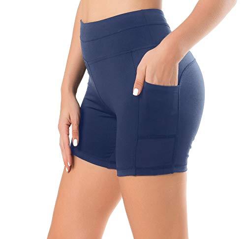 Sudawave Damen Mesh Radlerhose Kurze Leggings Yogahose Sporthose Shorts mit Taschen für Fitness (Dunkel Blau, Medium) -