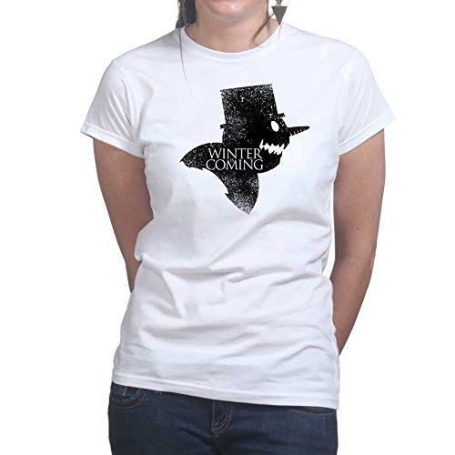 Womens Winter Is Coming Snow Man Christmas Xmas Ladies T Shirt (Tee, Top) White