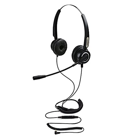 AGPtek mains libres 2.5mm Binaural casque téléphonique, Call Center Headset Telephone Universal, Qualité Best Sound avec Noise Canceling Mic + 3.5MM QD + Volume Mute, Noir