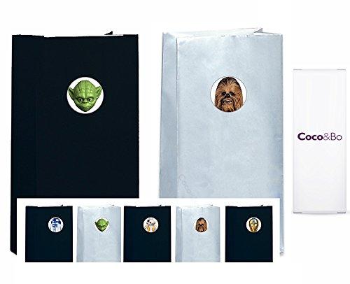 üten, Party-Geschenktaschen mit Aufklebern der Star-Wars-Helden, 5 StückBB8, R2D2, C3PO, Yoda und Chewbacca - silber und schwarz, Dekoration und Accessoires für Motto-Partys ()