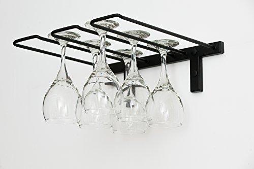 VintageView Wand serieswall montiert Stielglas Rack (6Weingläser), stahl, Satin Black finish, 6 Wine Glasses (Glass Storage System)
