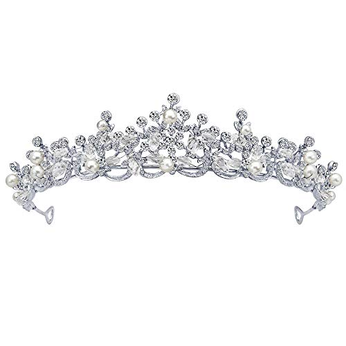 Hffan Damen Braut Kopfbedeckung Gold Silber DREI optional Legierung Krone mit Strass Hochzeitsaccessoires Kopfbedeckungen Party Hochzeitszubehör Braut Haarschmuck (Silber-A)