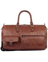 The Clownfish Paramount 44 Liters Gingerbread Faux Leather Travel Duffle Trolley, Duffle Bags For Men, Duffle...