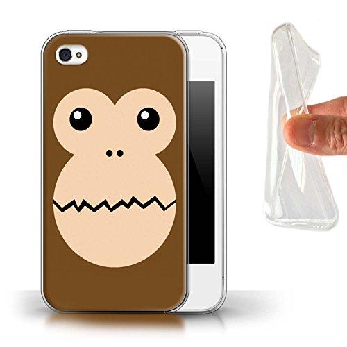 Stuff4® Gel TPU Hülle/Case für Apple iPhone 4/4S / AFFE Muster/Animierte Tiergesichter Kollektion (Affe Iphone 4s)