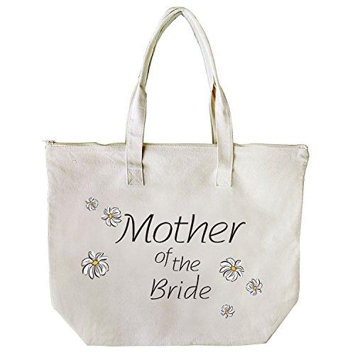 ElegantPark Mother of the Bride Groom Donne Shopper Naturale Tela 100% Cotone Tote Tote donne della spalla Mid borsa Sposa Mother of the Bride