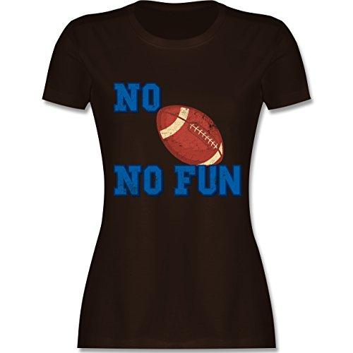 Shirtracer Sonstige Sportarten - No Football No Fun Vintage - Damen T-Shirt Rundhals Braun