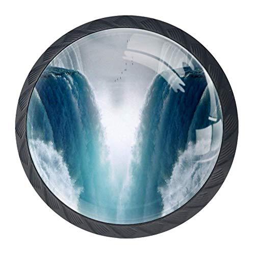 Wasserfall Schublade (Wasserfälle Schublade Knöpfe Hardware Runde Schublade Griffe Kristallglas Edelstahl Schraube für Küchenschrank Kommode Schrank Kleiderschrank Tür ziehen 3.5×2.8CM 3.5×2.8CM)