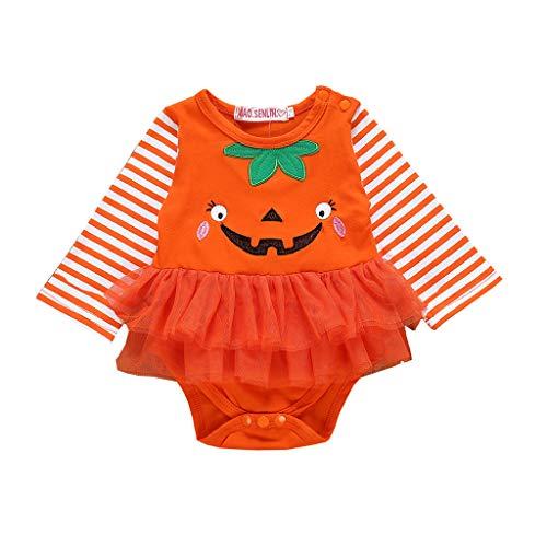 Mädchen Wirklich Kostüm Süße - DOLLAYOU Babykleidung Set Halloween Kürbis Kleid Tutu Mesh Gestreift Süß Kostüm Langarm Mädchen Elegant Baumwolle 0-24 Monate
