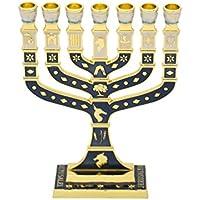 Esmalte de Plata de Ley con diseño de Menorah de Jerusalén, Color Azul Marino Oscuro y Dorado de 12 tribus de Israel