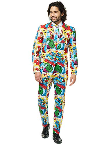 Kostüm Spiderman Neues - Opposuits Superhero Anzug für Herren besteht aus Sakko, Hose und Krawatte - Harry Potter, The Joker, Dark Knight, Spiderman & Marvel, Marvel Comics, 48