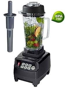 Profi Smoothie Maker Power Mixer Blender Icecrusher Schwarz 2,0 l BPA-FREI mit Edelstahlmesser (6 integrierten Stahlklingen) - mit dem kraftvollen 3PS Motor - ideal für grüne Smoothies