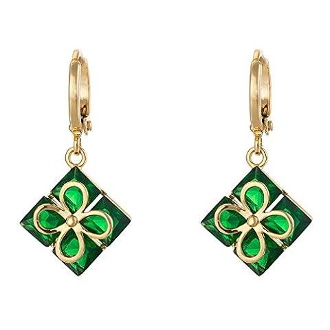 YAZILIND Frauen Gold überzogenes Green Square Inlay Kristall Strass-Blumen-hängende Tropfen-Ohrring für Hochzeit