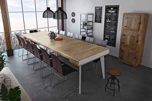 Home Innovation - Table Console Salle à Manger, Extensible, rectangulaire, Front Arrondi, avec rallonges Nordic Curve jusqu'à 300 cm, Finition Blanc Mat, chêne brossé. Style Scandinave. JusquŽà 14p