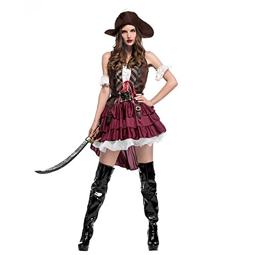 StageOnline Costume cosplay da Donna - Pirate Sexy Swashbuckler Pirate Costume Costume Cosplay Somali per Halloween Party