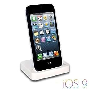 iProtect Premium Ladestation / Dockingstation INKLUSIVE Audio Sound Ausgang für das iPhone 5 G/ 5S / 5C / iPod Touch 5 - mit neuem 8 Pin Anschluss - in WEISS / weiß
