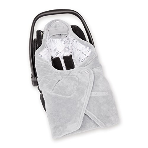 Bemini by Baby Boum 492APAWI90SF Einschlagdecke für Babyschale BISIDE Softy/Jersey APAWI plum 90 x 90 cm ,grau (Grau Plum)