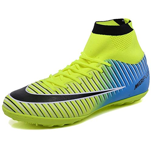 new styles e7928 9b002 LSGEGO Men s Football Boots Adult High Top Soccer Shoes Professional Spike  Training Shoes Outdoor Sneakers Teenagers