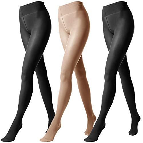 FEPITO 3 Pairs Damen Blickdichte Strumpfhose Weiche Strumpfhose Damenstrumpfhose 80 Denier (2 black+1 skin, L)