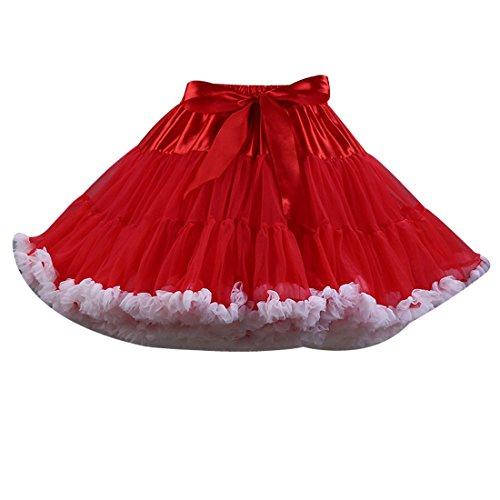 Omela Damen Mädchen Rockabilly kostüm Tüllrock Minirock 50er 60er Jahre Cosplay Vintage Kurz Tutu Rock Tanzrock mit Bogen 4#-extra flaumig