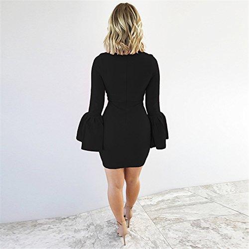 fondo a volant con manica tromba a campana svasate a Maniche Lunghe Mini Bodycon Aderente Fasciante Dress Vestito Abito Nero