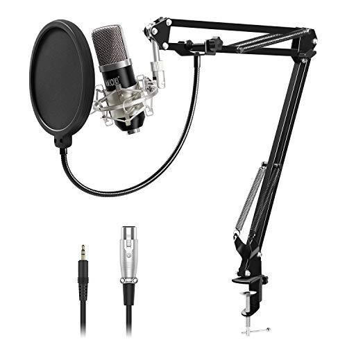 Tonor XRL 3.5mm Micrófono Condensador de Grabación para PCPodcast Estudio con Soporte de Micrófono Ajustable Suspensión, Montura de Choque de Metal y Filtro Anti-Pop Negro