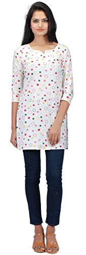 Formal/Casual, Printed, 3/4th sleeve, Cotton kurti for women (X-Small, RED)