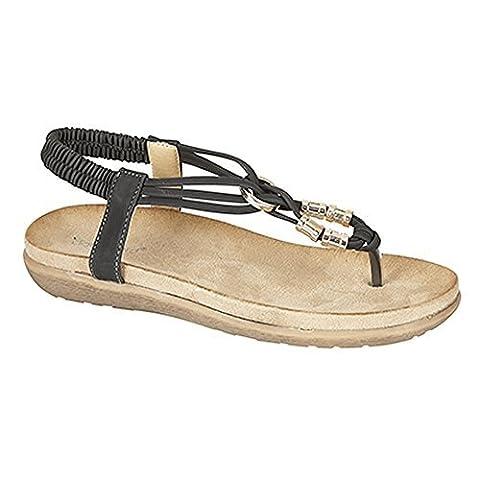 Boulevard Womens/Ladies Toe Post Super Comfort Padded Sandals (5 UK) (Black)