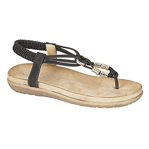 boulevard-womens-ladies-toe-post-super-comfort-padded-sandals-7-uk-black