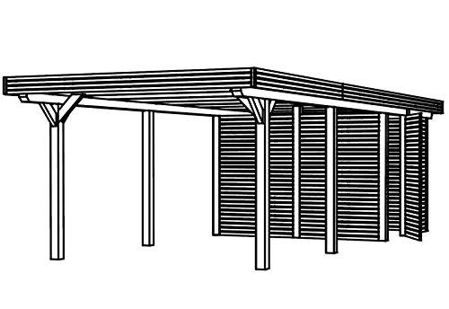 Skan Holz Carport Spessart 355 x 846 cm Leimholz mit Abstellraum