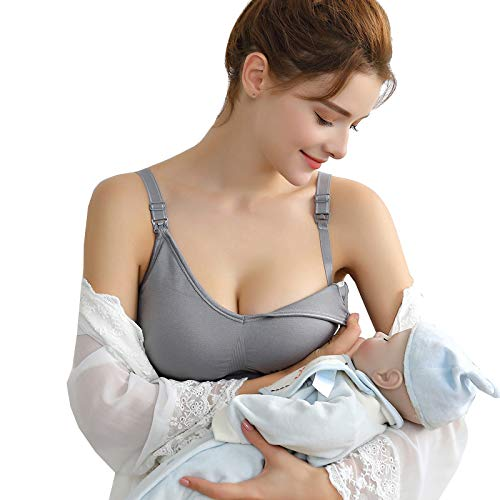 Vellette Damen Schwangerschafts Still BH Nahtloser Still-BH mit zusätzlichen BH-Verlängerungen Stillen und Schlaf Ohne Bügel, 2pcs(black+grey), S/M(=M) - 5