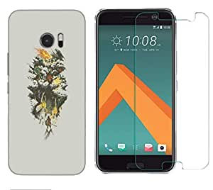 Snoogg Samurai Entereing Jungle Combo Designer Protective Back & Shatter Proof Tempered Glass For HTC DESIRE 10 LIFESTYLE