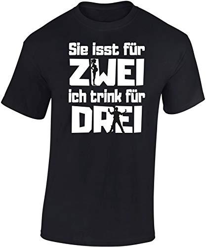 T-Shirt: Sie isst für Zwei, ich Trink für DREI - Vater Werden - Schwangerschaft - Geburt - Papa - Geschenk für Männer - Shirt Mann - Alkohol - Kind-er - Tochter Sohn - Fun - Witzig - Dad (L)