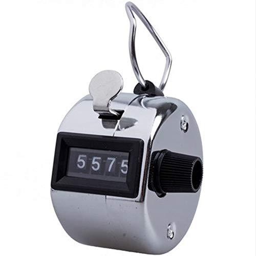 Neinei Tally 4Ziffern Hand Zähler mit Metall Finger Ring Hoop Halter, Silber, Diameter 46mm Thickness 30mm