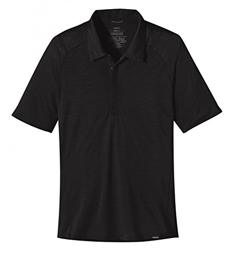 Patagonia Maglietta da uomo M' S Merino 2LW polo, Uomo, Shirt M'S Merino 2 LW Polo, nero, S